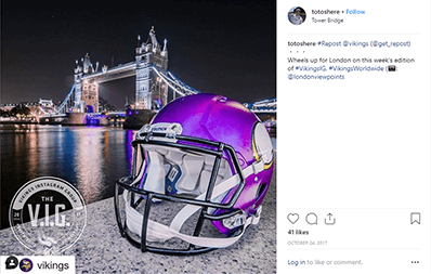 Image from Instagram, showing a Viking helmet in the city of London