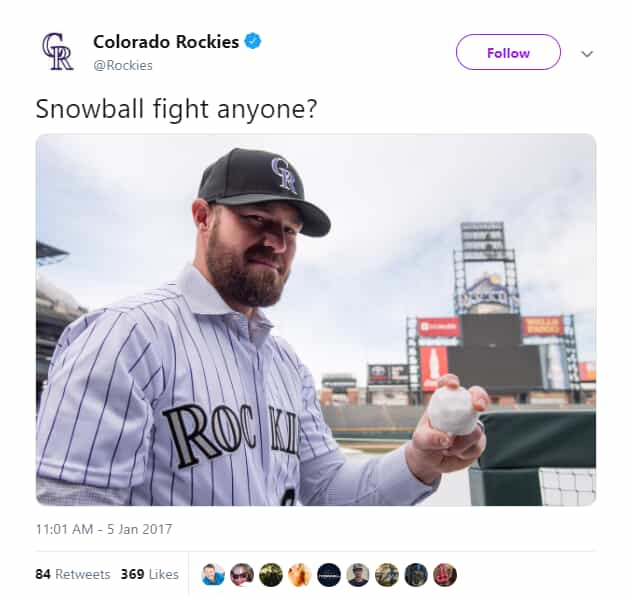 Rockies Twitter post - Snow Day