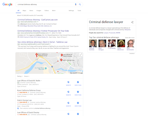 screenshot of Google search results for criminal defense attorney